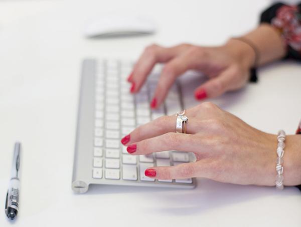 Typing on a keyboard – Brand+Soul – Brand Strategy | Logo & Identity Design | Brochure Catalogue & Direct Mail | Marketing | Web & Digital