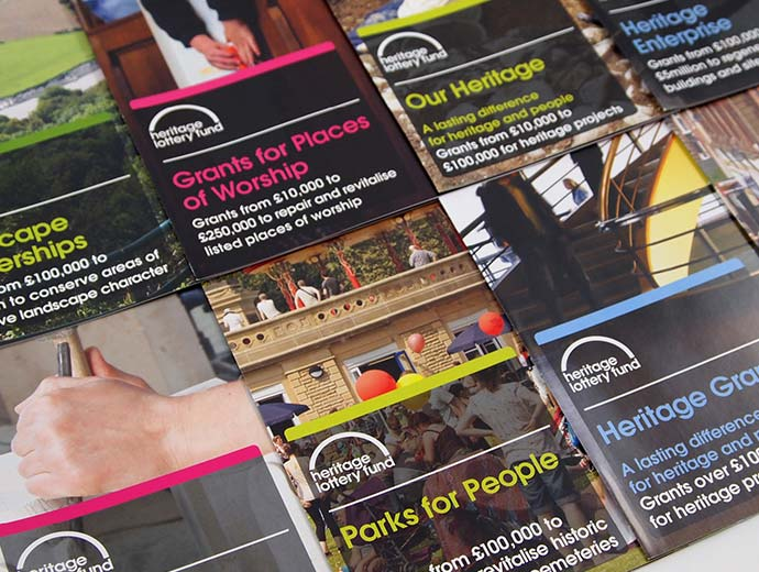 Heritage Lottery Fund assorted leaflets | Graphic Design, Branding, Identity