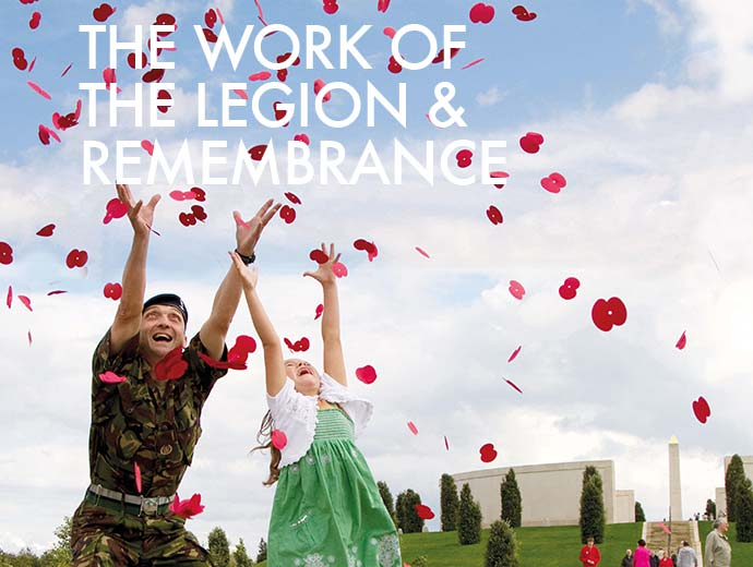 Royal British Legion man and girl catching poppies | Graphic Design, Branding, Identity