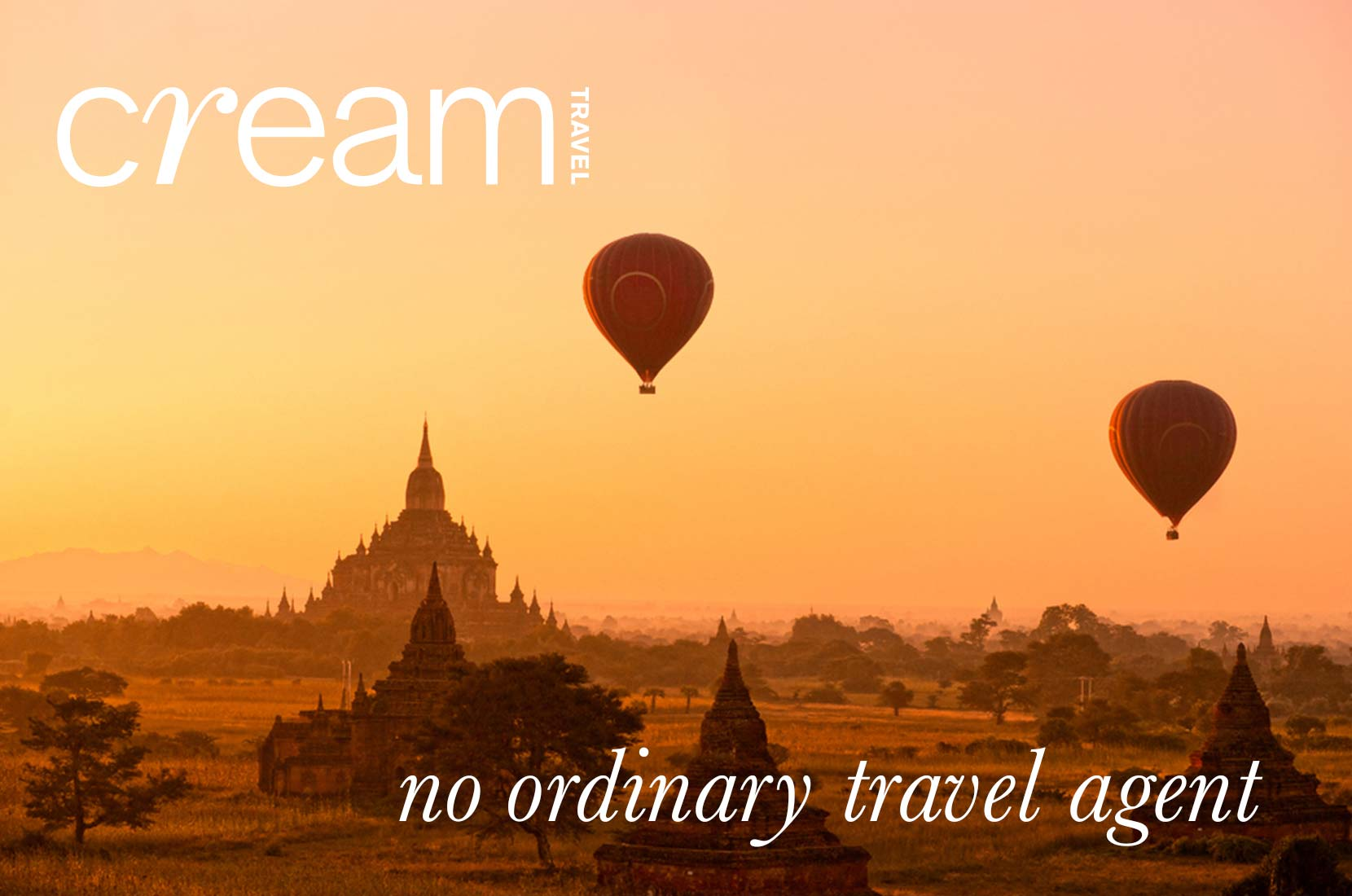 Cream Travel Header and Logo, Hot air balloons over a sunset