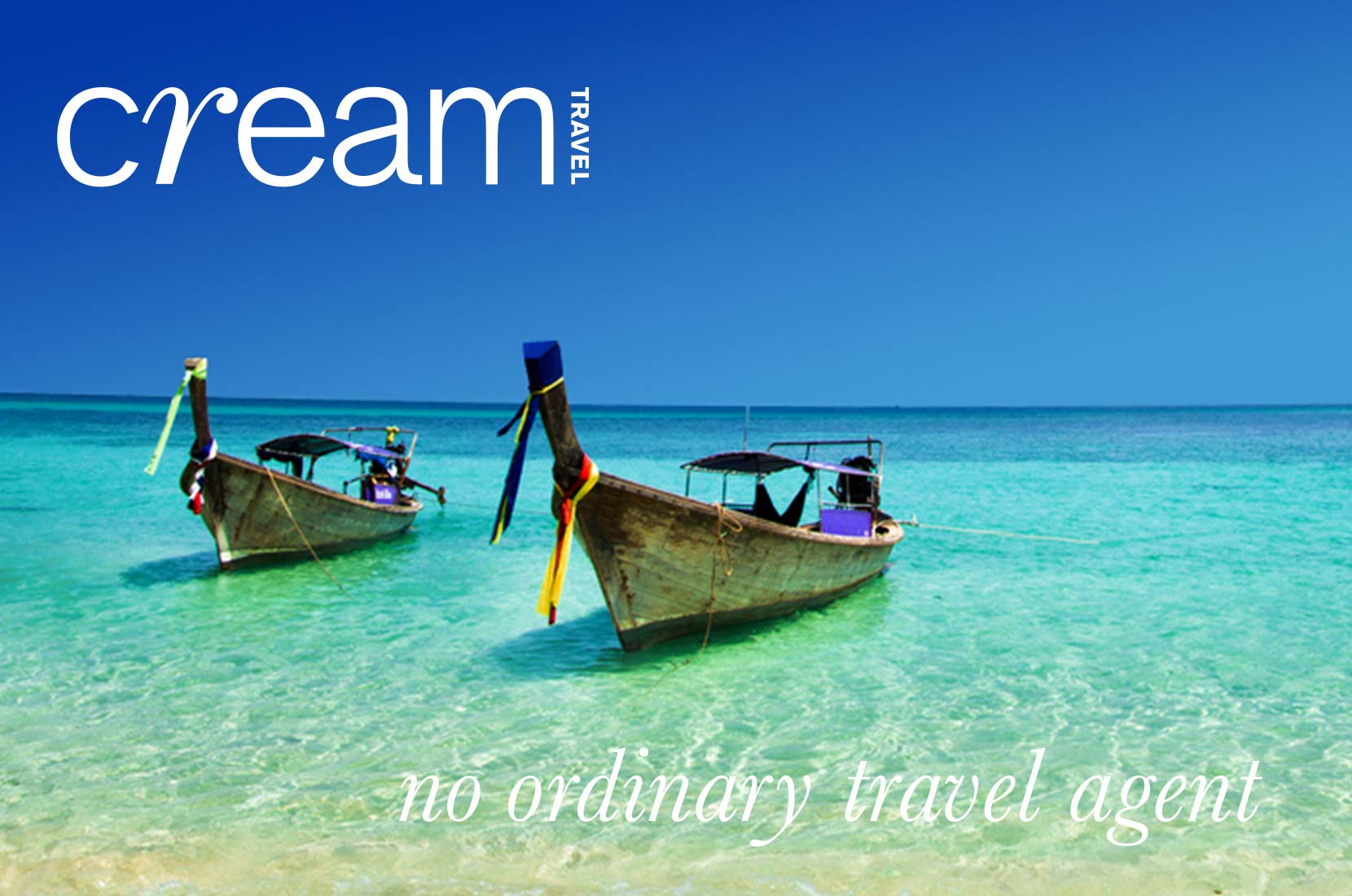 Cream Header Image, Boats docked at a beach in Thailand
