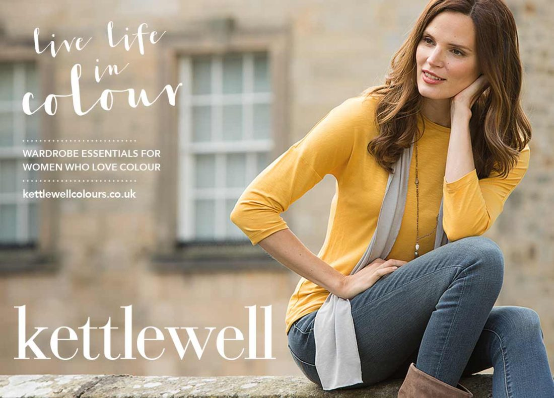 Kettlewell Autumn Winter 2016 model with script text reading 'Live Life in Colour'