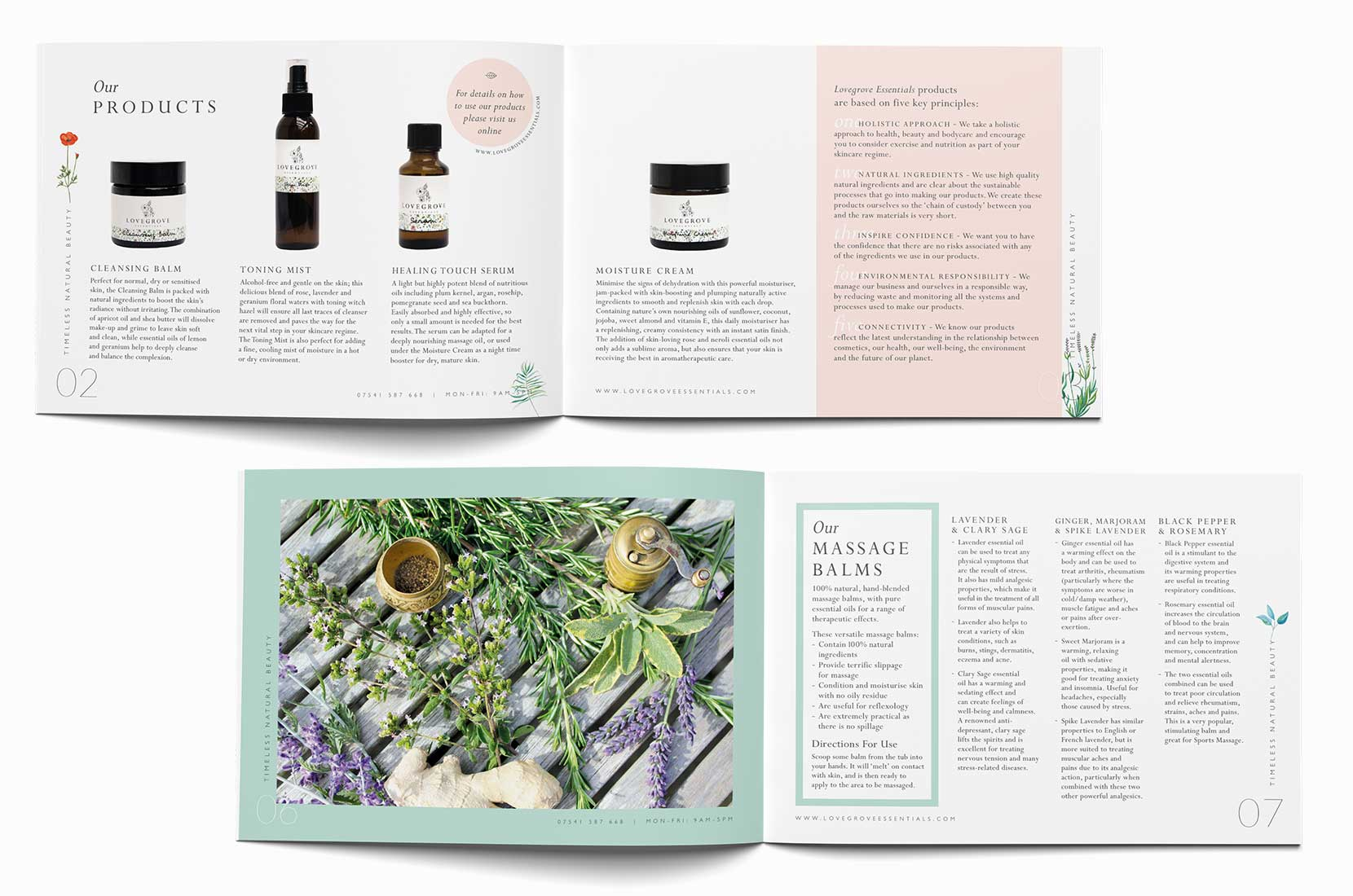 Lovegrove Essentials, Timeless Natural Beauty, Spreads from the professional and retail catalogs picturing products and lavender