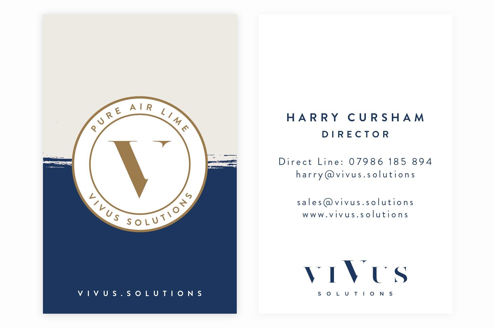 Vivus Solutions Pure Air Lime – Harry Cursham – Director – Business Card design