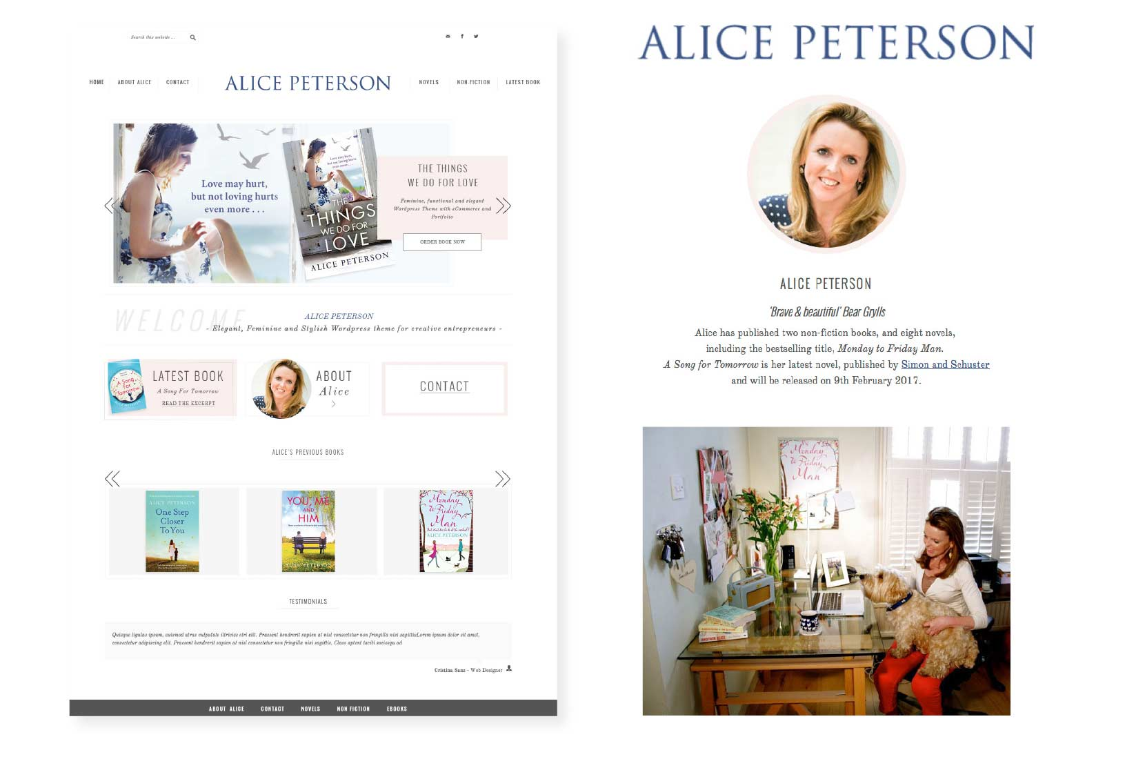 Alice Peterson website homepage and biography