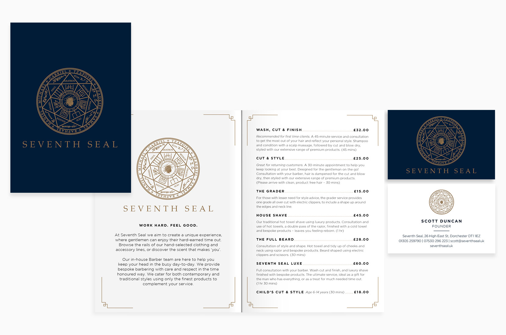Seventh Seal Gold and Blue Price list and business cards – Brand+Soul – Brand Strategy | Logo & Identity Design | Brochure Catalogue & Direct Mail | Marketing | Web & Digital