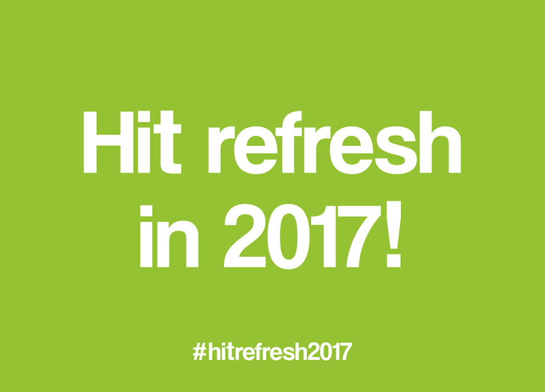 Brand+Soul Hit Refresh in 2017 text on green background